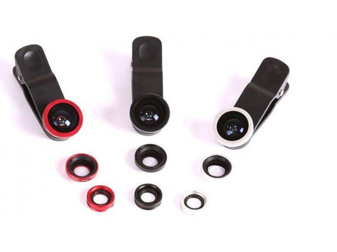 Objektiv pro mobily 3v1 červený