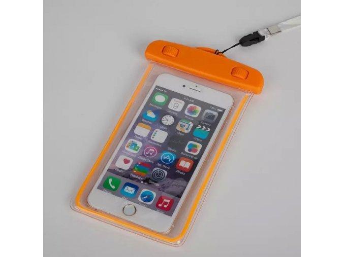 Vodotěsné univerzální svítící pouzdro pro mobily oranžové