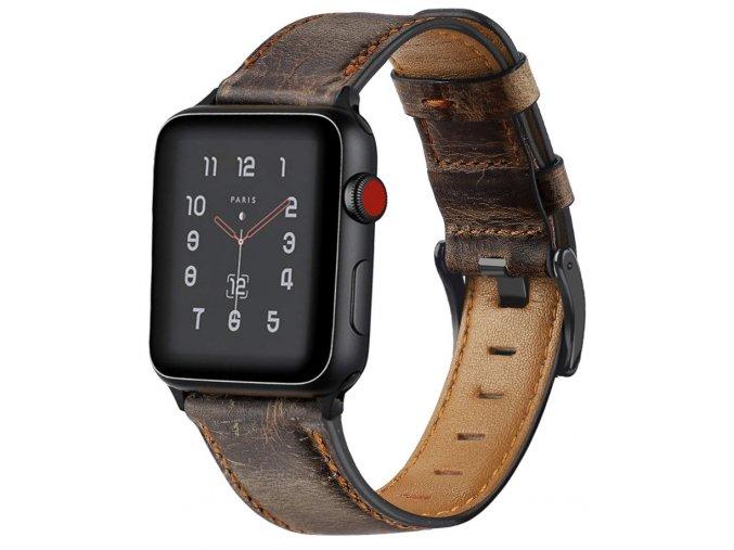 retro kozeny reminek pro apple watch 42 a 44 mm s klasickou ocelovou prezkou tmave hnedy 01