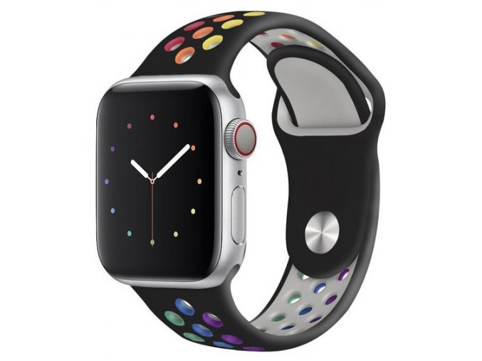 cerny duhove prouzkovany silikonovy reminek pro apple watch