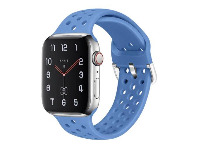 silikonovy reminek s odvetravacimi otvory a prezkou pro apple watch lehce modry