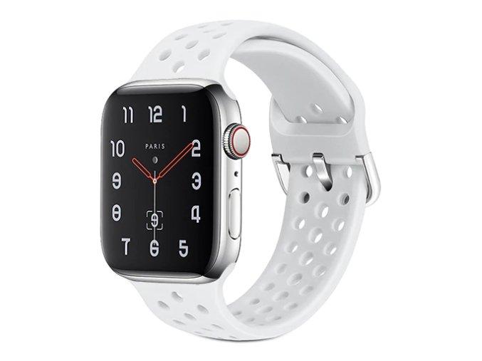 silikonovy reminek s odvetravacimi otvory a prezkou pro apple watch bily