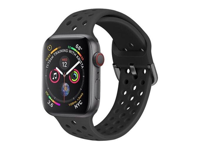 silikonovy reminek s odvetravacimi otvory a prezkou pro apple watch cerny