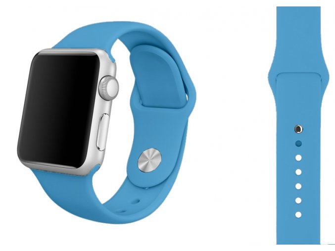 svetle modry silikonovy reminek pro apple watch