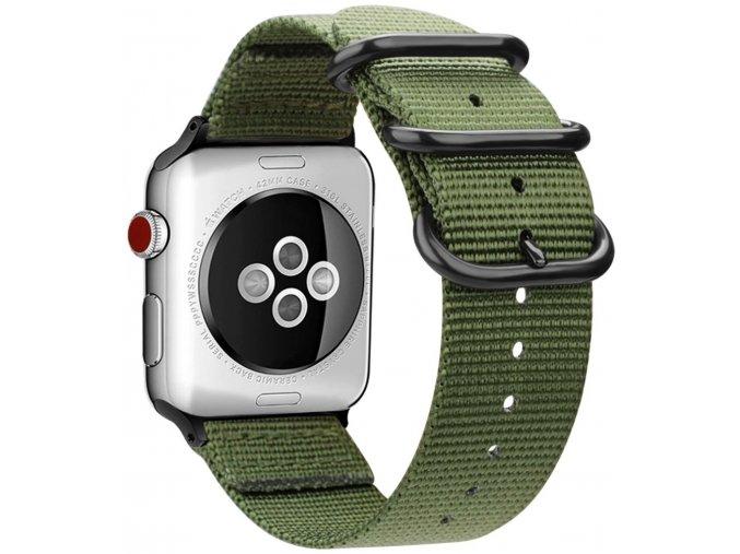 tkany nylonovy reminek pro apple watch s trojitou prezkou zeleny