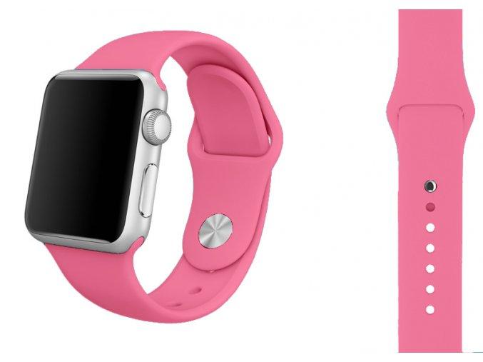 zarive ruzovy silikonovy reminek pro apple watch