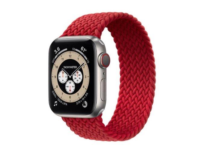 pleteny nylonovy navlekaci reminek pro apple watch cerveny