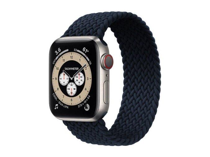 pleteny nylonovy navlekaci reminek pro apple watch cernomodry