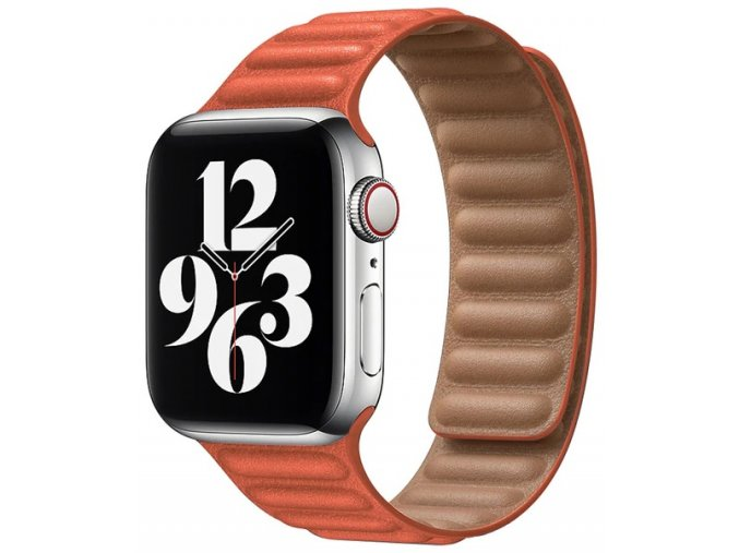 kozeny magneticky reminek pro apple watch 2 generace oranzovy