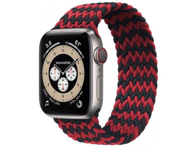 pleteny nylonovy navlekaci reminek pro apple watch cernocerveny