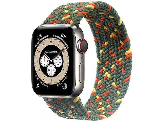 pleteny nylonovy navlekaci reminek pro apple watch zelenozlutooranzovy