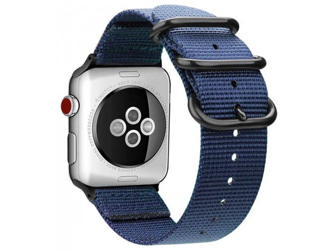 tkany nylonovy reminek s trojitou prezkou pro apple watch modry