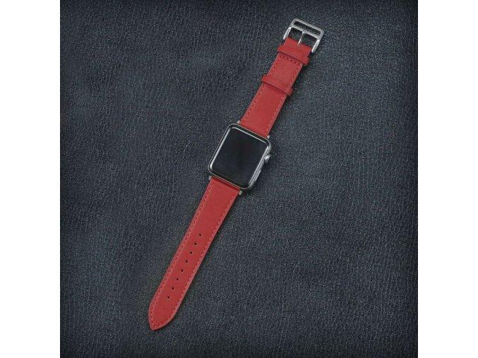 kozeny reminek pro apple watch 42 mm s dvojitou ocelovou prezkou cerveny