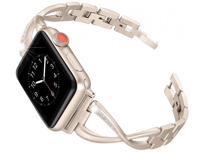 ocelovy reminek s kaminky pro apple watch vintage zlaty