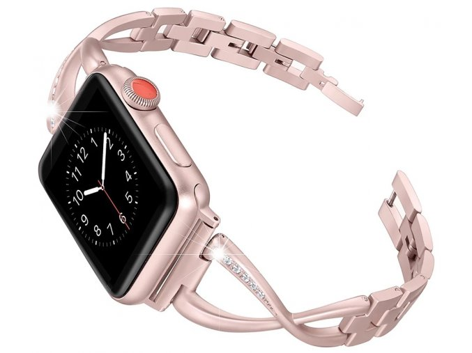 ocelovy reminek s kaminky pro apple watch ruzove zlaty