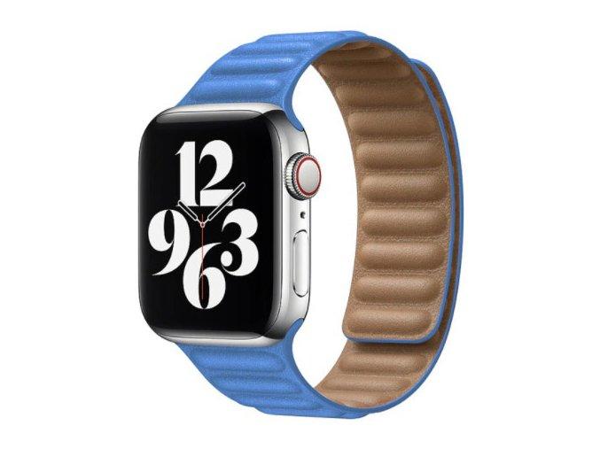 kozeny reminek s magnetickym zapinanim pro apple watch 2 generace svetle modry