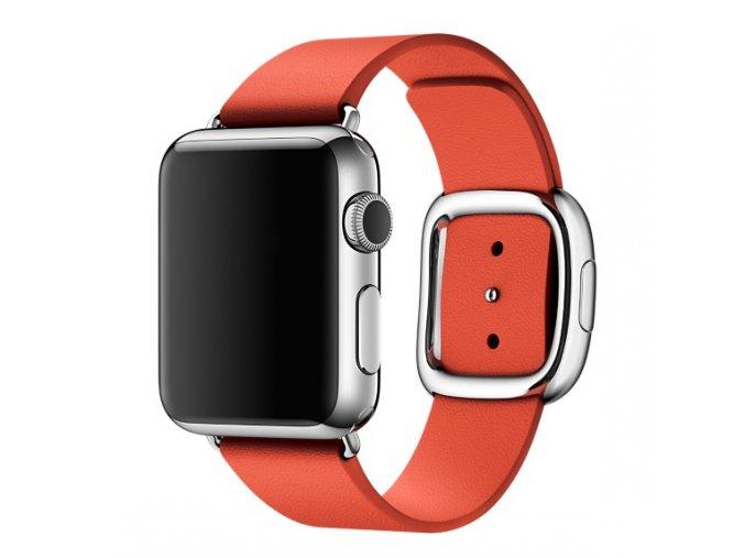 Luxusní kožený řemínek s moderní prezkou pro Apple Watch 38 mm červený