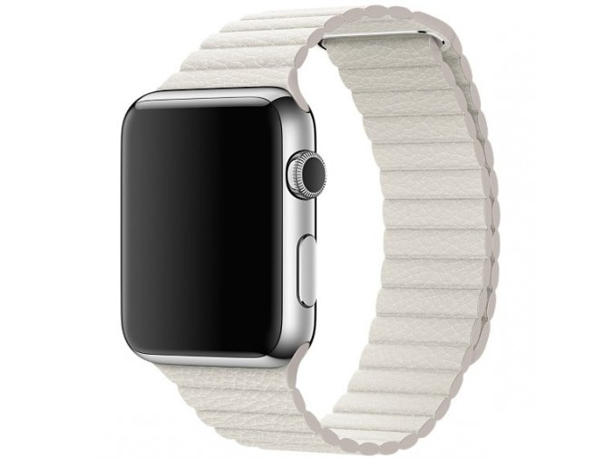 Luxusní kožený řemínek s magnetickým zapínáním pro Apple Watch 42 mm bílý
