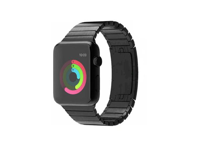 luxusni reminek z nerezove oceli pro apple watch 42 mm cerny 01