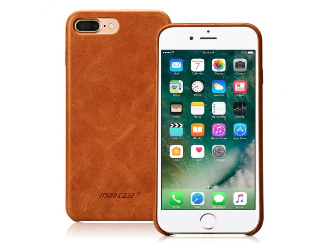 Zadní kryt Jisoncase pro iPhone 7 Plus a 8 Plus z pravé kůže (2 barvy)