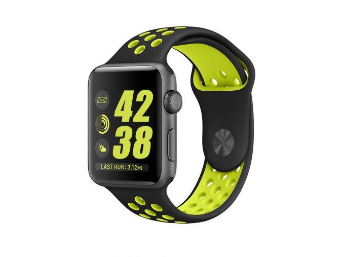 Zelenočerný silikonový řemínek pro Apple Watch 38 a 40 mm