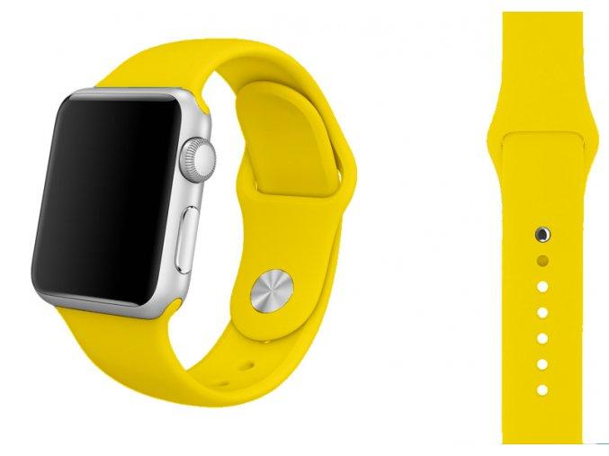 Barva žlutá silikonový řemínek pro Apple Watch 38 a 40 mm (M/L 130 mm)