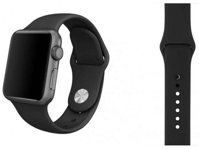 Černý silikonový řemínek pro Apple Watch 42 mm