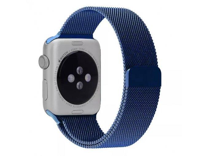 Ocelový řemínek Milánský tah s magnetickým zapínáním pro Apple Watch 42 a 44 mm modrý