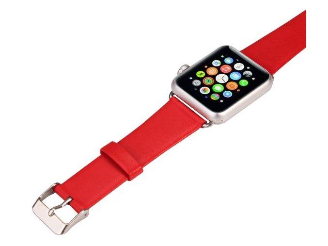 kozeny reminek pro apple watch 42 mm s klasickou ocelovou prezkou cerveny 01