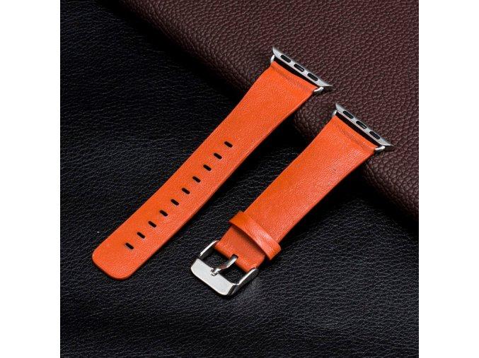 kozeny reminek pro apple watch 42 mm s klasickou ocelovou prezkou oranzovy 02