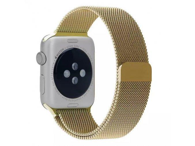 Ocelový řemínek Milánský tah s magnetickým zapínáním pro Apple Watch 38 mm zlatý