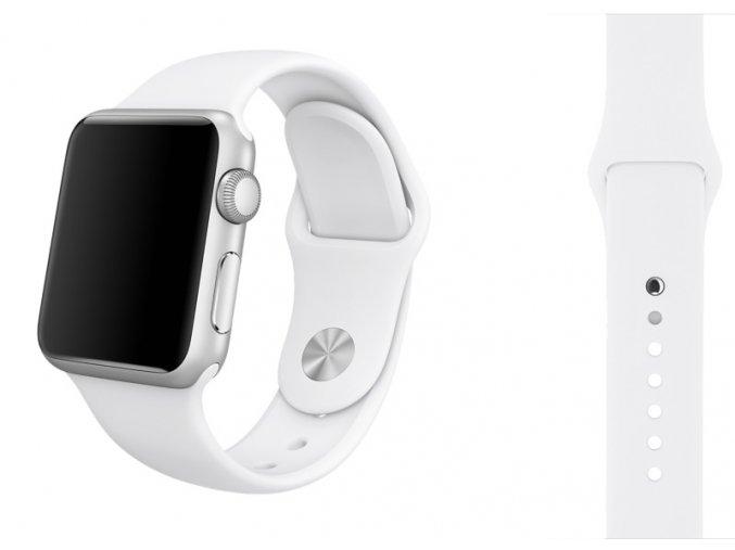 Bílý silikonový řemínek pro Apple Watch 42 a 44 mm