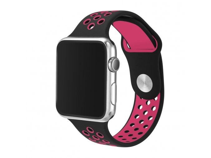 ruzovocerny silikonovy reminek pro apple watch 42 mm 01