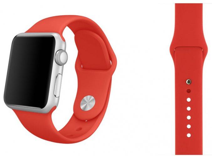 Červený silikonový řemínek pro Apple Watch 42 mm
