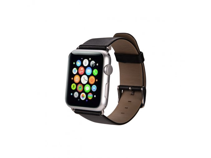 Kožený řemínek pro Apple Watch 38 mm s klasickou ocelovou přezkou černý