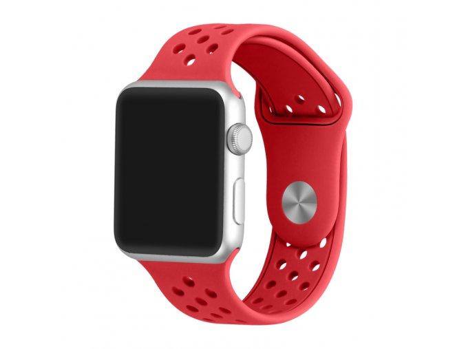cerveny silikonovy reminek s odvetravacimi otvory pro apple watch 42 mm 02