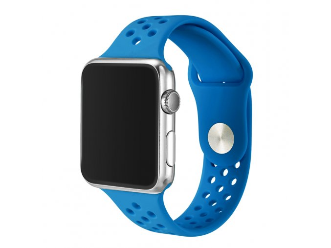 modry silikonovy reminek s odvetravacimi otvory pro apple watch 42 mm 01