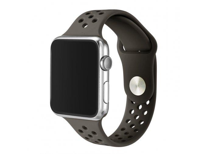 sedivy silikonovy reminek s odvetravacimi otvory pro apple watch 42 mm 01