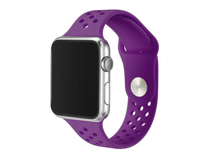 fialovy silikonovy reminek s odvetravacimi otvory pro apple watch 42 mm 0