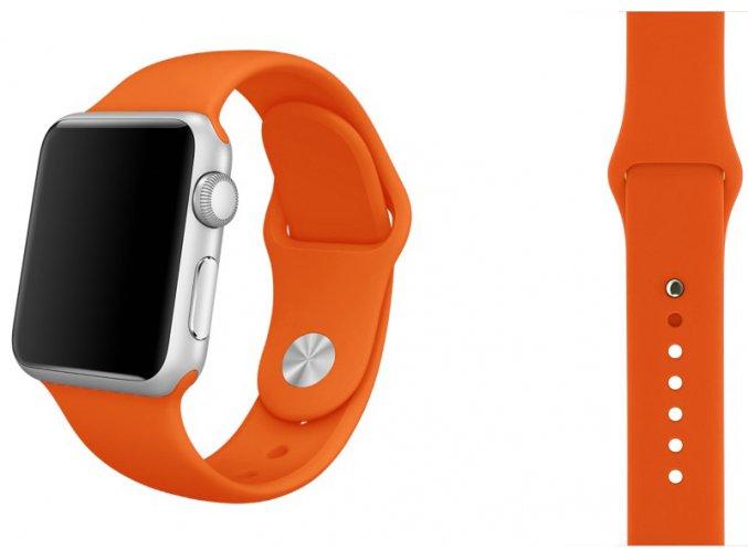 Oranžový silikonový řemínek pro Apple Watch 42, 44 a 45 mm