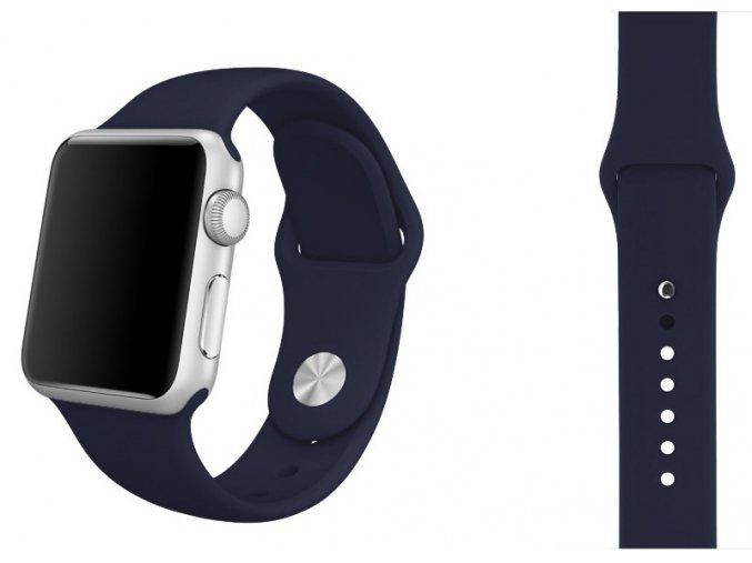 Půlnočně modrý silikonový řemínek pro Apple Watch 38 a 40 mm