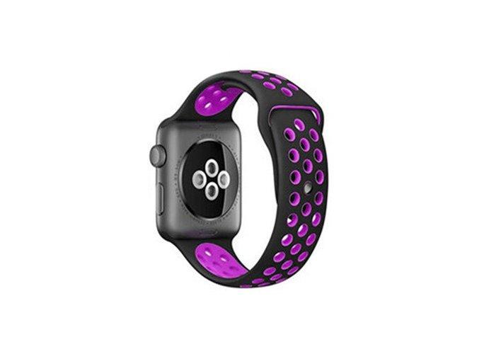 fialovočerný silikonový řemínek pro Apple Watch 42 mm