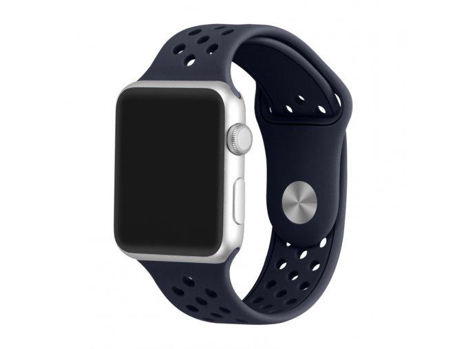 pulnocne modry silikonovy reminek s odvetravacimi otvory pro apple watch 42 mm 02
