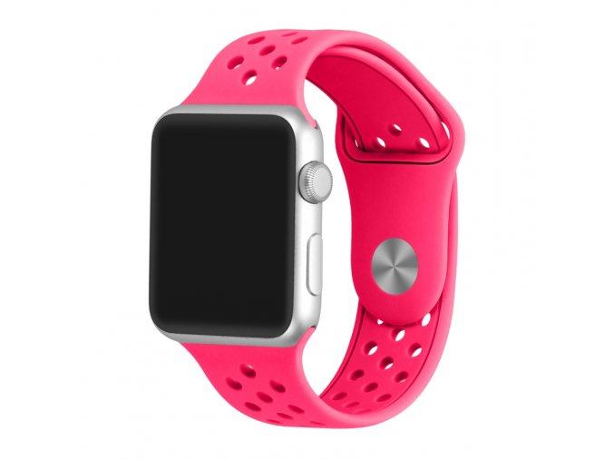 zarive ruzovy silikonovy reminek s odvetravacimi otvory pro apple watch 42 mm 02