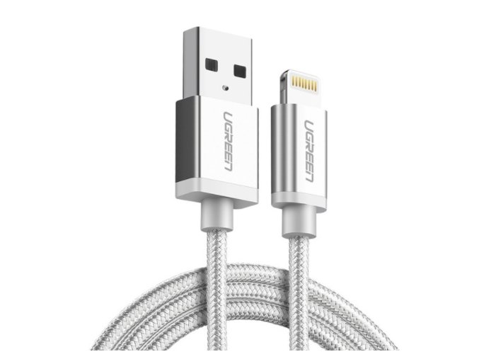 kabel lightning usb pro iphone a ipad dlouhy 2m bily nylon titulek
