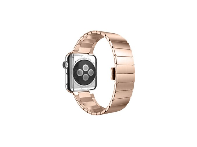 luxusni clankovy reminek z nerezove oceli pro apple watch 38 mm ruzovozlaty 01