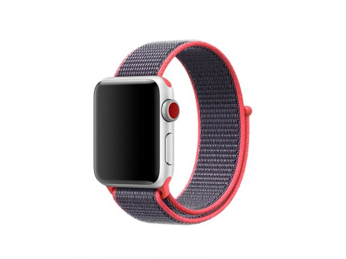 ruzovy provlekaci nylonovy reminek na suchy zip pro apple watch 42 mm