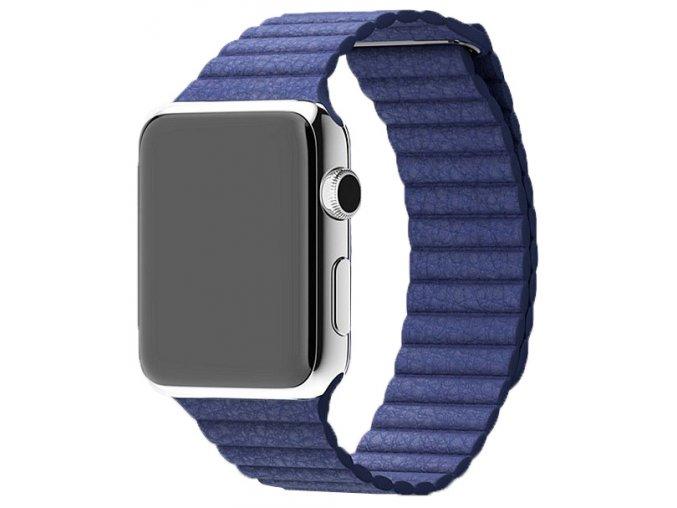 Luxusní kožený řemínek s magnetickým zapínáním pro Apple Watch 38 a 40 mm modrý