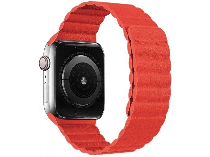 Luxusní kožený řemínek s magnetickým zapínáním pro Apple Watch 38 mm červený