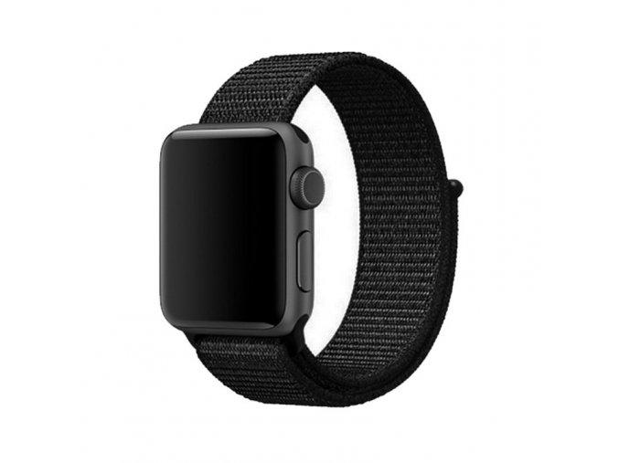 cerny provlekaci nylonovy reminek na suchy zip pro apple watch 42 mm 01
